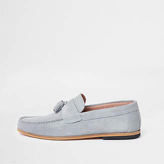 River Island Light blue suede tassel loafers