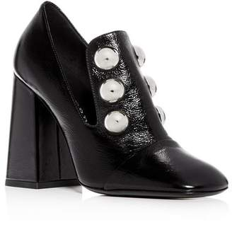 Burberry Women's Ambridge Leather High Block-Heel Loafers