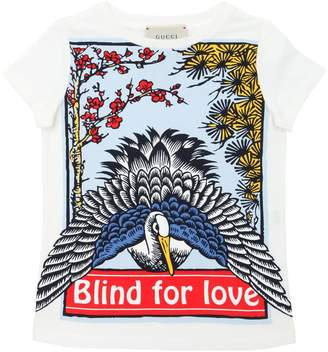Gucci Swan Print Cotton Jersey T-Shirt