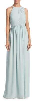 Halston Plisse Fortuny Ruched Gown