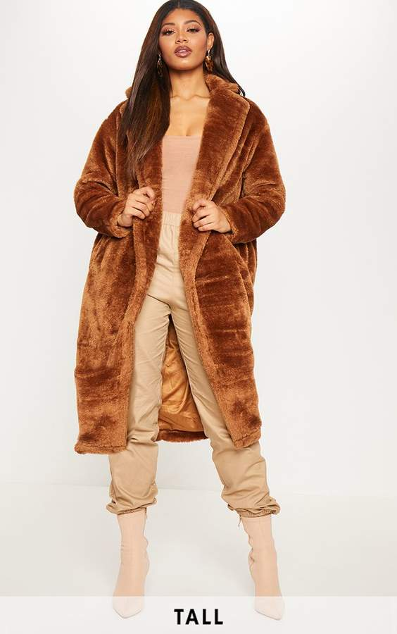 Tall Brown Faux Fur Long Line Coat