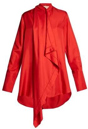 Roksanda Akano Draped Front Silk Satin Top - Womens - Red