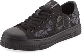 Valentino Camu Butterfly Canvas Low-Top Sneakers