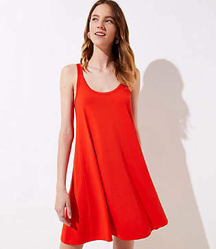 LOFT Petite Split Strap Sleeveless Swing Dress