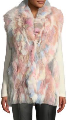 Adrienne Landau Multicolored Pastel Fox-Fur Vest
