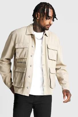 boohoo Utility Zip Detail Denim Jacket