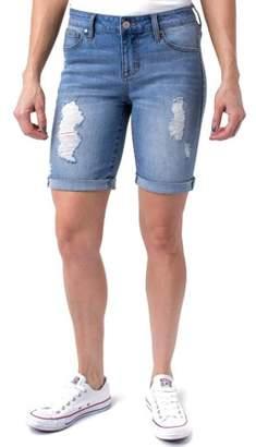 """Planet Pink Juniors' Super Stretch Roll Cuff 8"""" Denim Bermuda Shorts"""