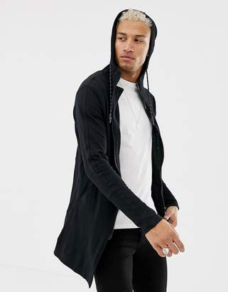 Religion jersey parka with patch hood in black