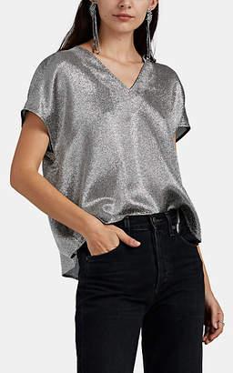 Lisa Perry Women's Metallic Silk-Blend Flyaway Blouse - Silver