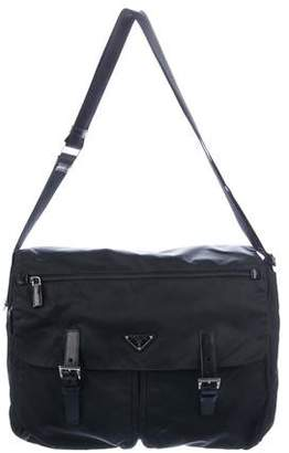 Prada Leather-Trimmed Vela Messenger Bag