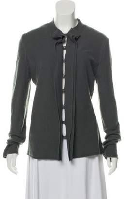 Armani Collezioni Ruffle-Accented Wool Cardigan Grey Ruffle-Accented Wool Cardigan