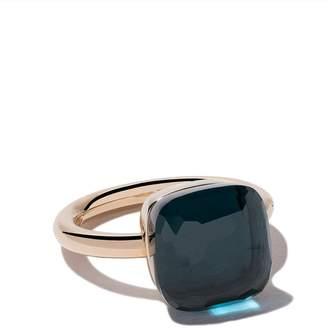 Pomellato 18kt rose & white gold maxi Nudo blue topaz ring