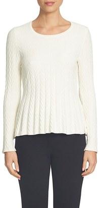 Women's Cece Chevron Stitch Cotton Blend Peplum Sweater $89 thestylecure.com