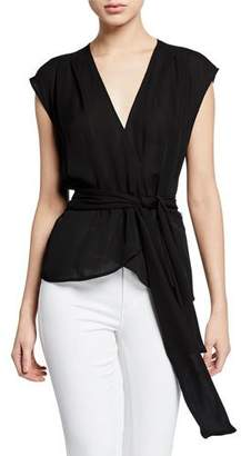 L'Agence Clemence Shirred Tie-Waist Sleeveless Wrap Blouse