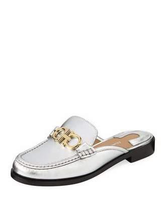 Salvatore Ferragamo Viggio Flat Mule Loafers with Reversible Gancini Bit