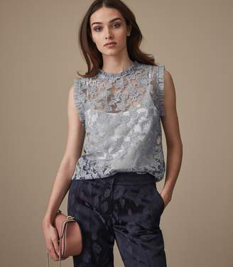 Reiss MARINA SLEEVELESS LACE TOP Silver Lake