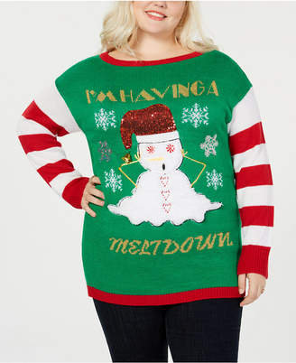 "Planet Gold Trendy Plus Size ""I'm Having A Meltdown"" Christmas Sweater"