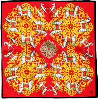 House of Gharats - Kalighat Horse Classic Silk Scarf Collection Red & Green