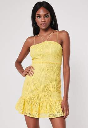 Missguided Yellow Strappy Lace Square Neck Mini Dress