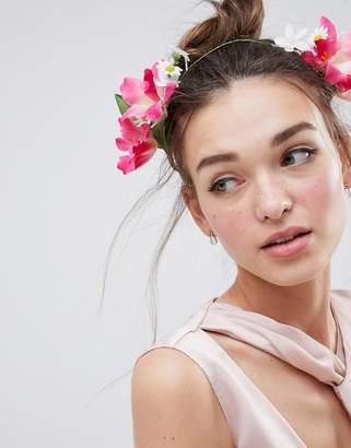 Asos DESIGN Summer Bloom Side Garland Headband