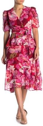 Gabby Skye Ruched Short Sleeve Floral Chiffon Dress