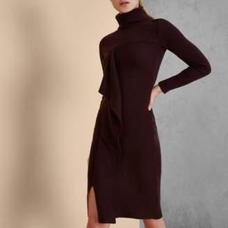 River Island Burgundy RI Studio knit rib roll neck dress