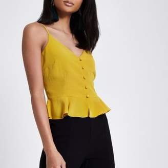 River Island Womens Yellow peplum hem button front cami top