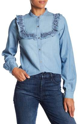 Melrose and Market Chambray Ruffle Button Down Shirt