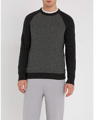 BOSS Scallop-knit slim-fit knitted jumper