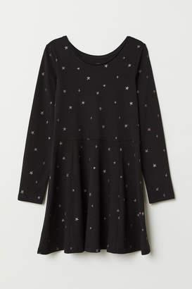 H&M Circle-skirt Jersey Dress - Black