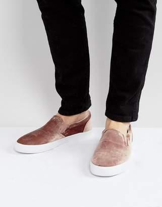 Asos Slip On Sneakers In Pink Velvet