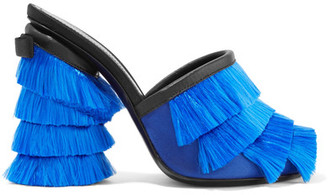 Marco De Vincenzo - Leather-trimmed Fringed-satin Mules - Blue $835 thestylecure.com