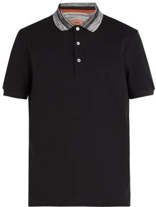 Missoni Contrast Collar Cotton Pique Polo Shirt - Mens - Black