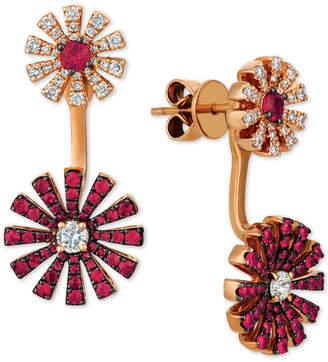 LeVian Le Vian Certified Ruby (9/10 ct. t.w.) & Diamond (5/8 ct. t.w.) Earring Jackets in 14k Rose Gold