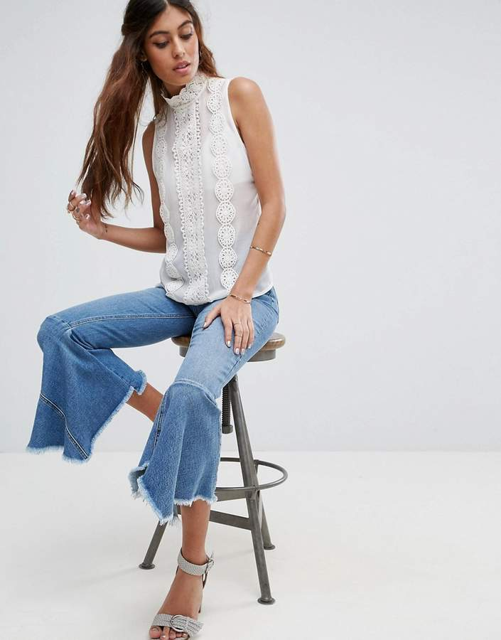 Asos High Neck Sleeveless Blouse With Lace Trims