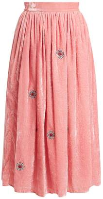 JUPE BY JACKIE Strock floral-embroidered silk-velvet skirt