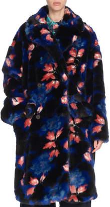 Kenzo Oversized Floral-Print Faux-Fur Coat