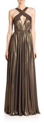 Halston Cross-Neck Flowy Gown