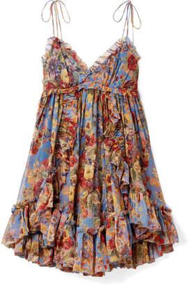 Zimmermann Lovelorn Ruffled Floral-print Crinkled Silk-georgette Mini Dress - Blue