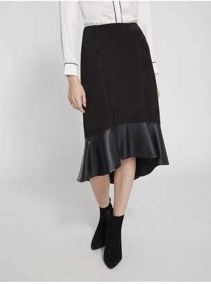 Alice + Olivia Kina Ruffle Hem Suede Skirt