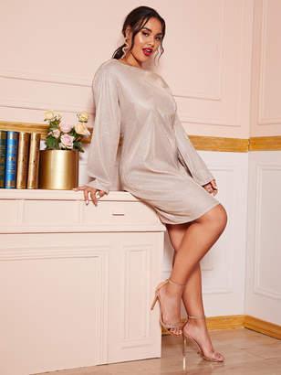 Shein Plus Sparkly Glitter Long Sleeve Tunic Dress
