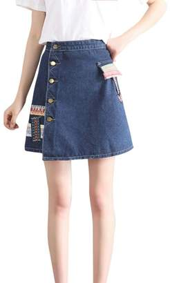 AmyDong Hot Sale! Ladies Dress, Women Denim Skirt Fashion Waist Skirt Korean Style Girls Cowboy Mini Denim Short Skirt (M, )