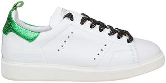 Golden Goose Sneakers Starter In White Leather With Laminated Leather Details