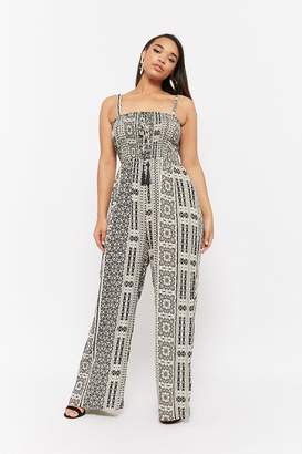 ab6bfbe50557 Forever 21 Plus Size Smocked Abstract Jumpsuit