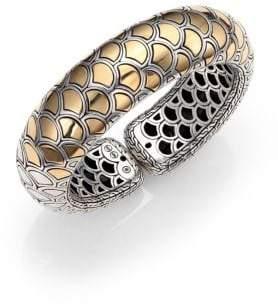 John Hardy Naga 18K Yellow Gold & Sterling Silver Bold Flex Cuff Bracelet