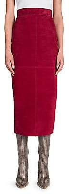 Fendi Women's Suede Midi Pencil Skirt