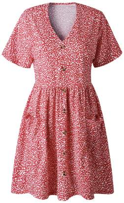 Goodnight Macaroon 'Abigail' V Neck Button Front Pocket Dress (4 Colors)