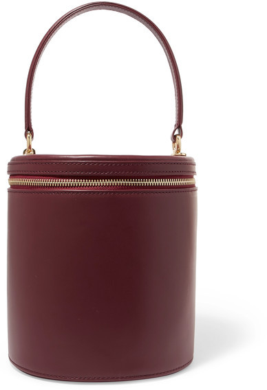 Staud Vitti Leather Tote - Burgundy