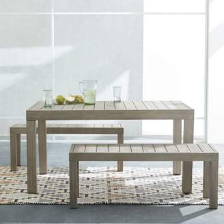 """west elm Portside Outdoor 58"""" Dining Table + Bench Set - Weathered Gray"""