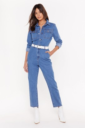 Nasty Gal You Better Work Denim Button-Down Boilersuit